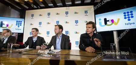 (l-r) British Television Company Itv Studio Boss Kevin Lygo Chief Executive Officer of Itv Plc Adam Crozier Ceo Dutch Talpa Holding Pim Schmitz and Owner of Talpa John De Mol During a Press Conference About the Takeover of Dutch Mediaconcerntalpa by British Itv Plc in Laren the Netherlands 12 March 2015 British Itv Plc on 12 March 2015 Announced That It Has Agreed to Acquire Talpa Media B V the Entertainment Show Producer Behind Worldwide Hit Formats Including the Voice the Voice Kids Utopia i Love My Country and Dating in the Dark For an Initial Cash Consideration of Approximately 355 Million Gbp Or 502 1 Million Euros Established by Big Brother Creator John De Mol Talpa is a Fast Growing Netherlands Based Production and Distribution Business Focused on Developing New Formats That Attract Large Audiences and Have Significant Global Commercial Potential Netherlands Laren