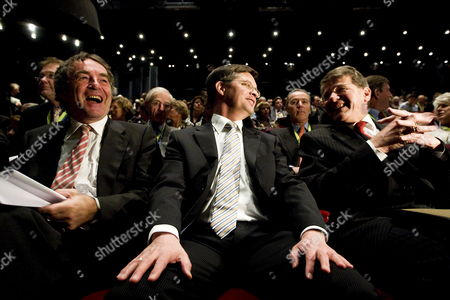 Stock Photo of (l to R) Leader of the Dutch Parliamentary Party Pieter Van Geel Prime Minister Jan Peter Balkenende and Minister Piet Hein Donner of Social Affairs Attend the Congress of Their Christian Democrats Party in Utrecht Netherlands 21 March 2009 Netherlands Utrecht
