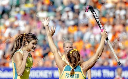 Anna Flanagan (l) and Georgie Parker of Australia Cheer After Beating Team Usa During the Semi Final in the Women's Tournament of the Field Hockey World Cup in the Hague the Netherlands 12 June 2014 Netherlands the Hague