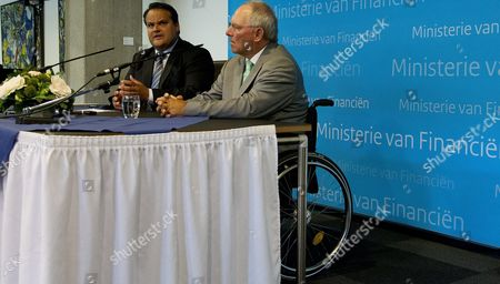 Dutch Minister of Finance Jan Kees De Jager (l) and German Minister of Finance Wolfgang Schauble During a Press Conference at the Ministry of Finance in the Hague the Netherlands 28 August 2012 Their Meeting is About the Progress of the Development in the Eurozone Netherlands the Hague