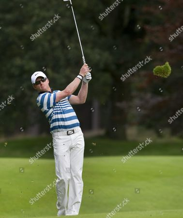 British Golfer Simon Dyson Hits From the Fairway During the First Round of the Klm Open Tournament in Hilversum the Netherlands 06 September 2012 the Klm Open is Part of the European Tour the Top Professional Golf Circuit in Europe Netherlands Hilversum