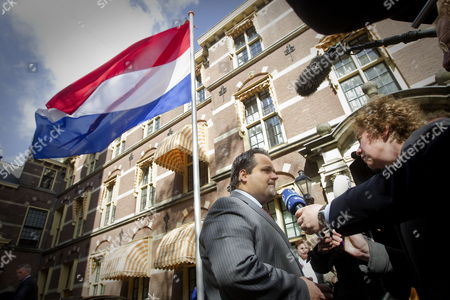 Dutch Minister of Finance Jan Kees De Jager (l) Arrives For the Council of Ministers in the Hague the Netherlands 27 April 2012 De Jager Has Been Negotiating with the Opposition on a Number of Austerity Measures to Bring the Budget Deficit Down to Meet a Brussels Deadline of 30 April Netherlands the Hague