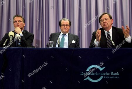 Stock Image of (r to L) Dutch Central Bank (dnb) President Nout Wellink Ceo of Ing Group Michel Tilmant and Dutch Finance Minister Wouter Bos During a Press Conference in Amsterdam Netherlands 19 October 2008 the Dutch Government Announced That It Would Inject 10 Billion Euros (13 4 Billion Dollars) Into Ing One of the World's 20 Biggest Banks 'It is Alarge Sum That We Are Injecting Into a Healthy Business Dutch Finance Minister Wouter Bos Told the Evening Press Conference Adding That It Allowed the Government to Face the Future with Confidence ' Netherlands Amsterdam