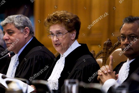 President Rosalyn Higgins (c) Vice President Awn Shawkat Al-khasawneh (l) and Raymond Ranjeva During Court Hearings in the International Court of Justice in the Hague the Netherlands 15 October 2008 in the Case Between Georgia and Russia Georgia Claims That Russia Has Committed Human Rights Violations Against Ethnic Georgians in the Breakaway Provinces of South Ossetia and Abkhazia Netherlands the Hague