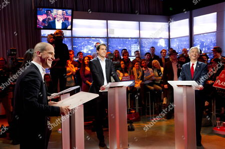 Diederik Samsom (l) Martijn Van Dam (c) and Ronald Plasterk (r) During the Last Debate of the Candidates For the Leadership of the Dutch Social Democrats Pvda in Amsterdam Netherlands 13 March 2012 Netherlands Amsterdam