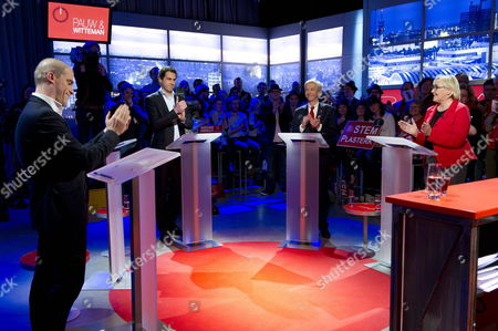 (l-r) Diederik Samsom Martijn Van Dam Ronald Plasterk and Lutz Jacobi During the Last Debate of the Candidates For the Leadership of the Dutch Social Democrats Pvda in Amsterdam Netherlands 13 March 2012 Netherlands Amsterdam