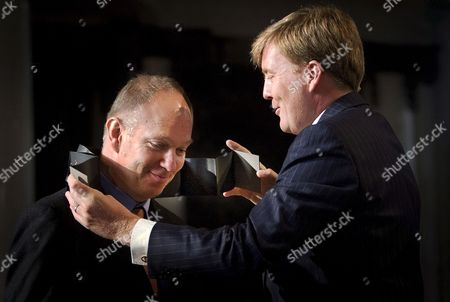 Stock Picture of Dutch Crown Prince Willem-alexander (r) is Handing Over the Erasmus Prize 2008 to British-dutch Writer and Journalist Ian Buruma (l) During the Award Ceremony in Rotterdam the Netherlands 07 November 2008 the Erasmus Prize is Annually Awarded to People who Have Made an Important Contribution in the Cultural Social Or Cultural Scientific Field in Europe Netherlands Rotterdam