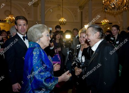 Dutch Queen Beatrix Meets Choir Master Mariss Jansons (r) From Latvia and Bariton Singer Thomas Hampson (l) From the Usa While Attending the 125-year Jubilee of the Concertgebouw Concert Hall and Concertgebouw Orchestra in Amsterdam the Netherlands 10 April 2013 Netherlands Amsterdam