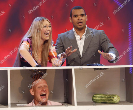 """'An Audience Without Jeremy Beadle'  TV - 2008 -  Zoe Salmon and Michael Underwood recreate the famous """"Game For A Laugh""""  sketch with Duncan Goodhew."""