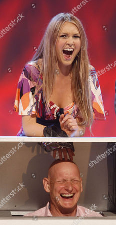 """'An Audience Without Jeremy Beadle'  TV - 2008 -  Zoe Salmon  recreates the famous """"Game For A Laugh""""  sketch with Duncan Goodhew."""