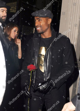 Simon Webbe leaves with girlfriend Layla Manoochehri from Girlband and gets a red rose