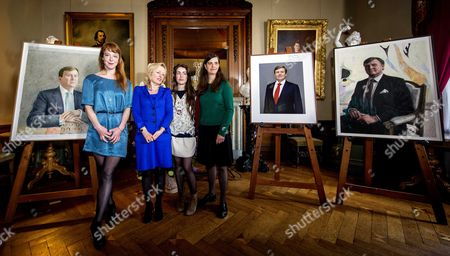 From (l-r): Dutch Artist Femmy Otten Minister For Education Culture and Science Jet Bussemaker Artist Iris Van Dongen and Artist Rineke Dijkstra Pose During the Unveiling of the Three Official Portraits of Dutch King Willem-alexander in Palace Het Loo in Apeldoorn the Netherlands 24 April 2014 Netherlands Apeldoorn