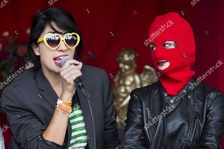 Nadya Tolokonnikova (l) and Sacha Adler of Russian Group Pussy Riot Speak During a Debate at Dutch Music Festival Zwarte Cross at Lichtenvoorde the Netherlands 23 July 2016 Netherlands Lichtenvoorde