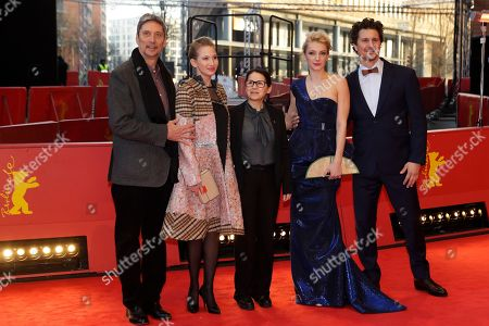 From left the actors Geza Morcsanyi, Reka Tenki director Ildiko Enyedi and the actors Alexandra Borbely and Ervin Nagy arrive on the red carpet for the film 'On Body and Soul' at the 2017 Berlinale Film Festival in Berlin, Germany