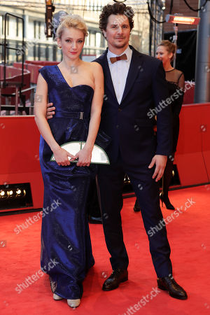 Stock Image of Actors Alexandra Borbely, left, and Ervin Nagy arrive on the red carpet for the film 'On Body and Soul' at the 2017 Berlinale Film Festival in Berlin, Germany