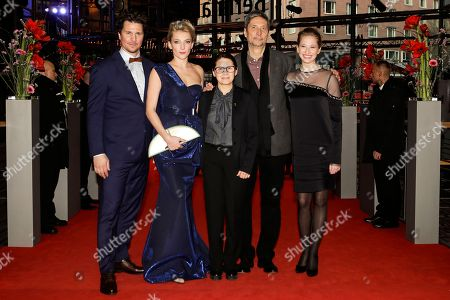 From left the actors Ervin Nagy, Alexandra Borbely, director Ildiko Enyedi and the actors Geza Morcsanyi and Reka Tenki arrive on the red carpet for the film 'On Body and Soul' at the 2017 Berlinale Film Festival in Berlin, Germany