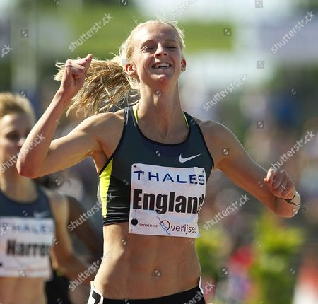 Britain's Hannah England Celebrates After Winning the Women's 1 500m Race at the Fanny Blankers Koen Games Athletics Meeting in Hengelo Netherlands 27 May 2012 Netherlands Hengelo