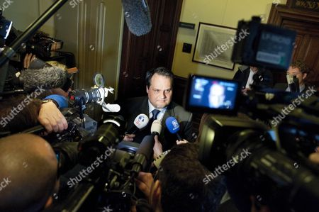 Dutch Minister of Finance Jan Kees De Jager Talks to the Press in the Parliament Building in the Hague the Netherlands 26 April 2012 After an Effort to Reach Agreement with Several Political Parties on the 2013 Budget Netherlands the Hague
