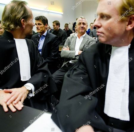 Stock Photo of Former Dutch Soccer Player Johan Cruyff with His Lawyers at the Court in Haarlem the Netherlands 07 December 2010 For the Lawsuit He Filed Against Soccer Club Ajax Nv and Its Board Members Steven Ten Have Edgar Davids Marjan Olfers and Paul Romer Cruyff is Challenging the Appointment of Interim Directors Martin Sturkenboom and Danny Blind and the Planned Appointment of Ceo Louis Van Gaal Netherlands Haarlem