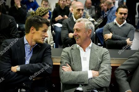 Former Dutch Soccer Players Wim Jonk (l) and Johan Cruyff (r) at the Court in Haarlem the Netherlands 07 December 2010 For the Lawsuit Cruyff Filed Against Soccer Club Ajax Nv and Its Board Members Steven Ten Have Edgar Davids Marjan Olfers and Paul Romer Cruyff is Challenging the Appointment of Interim Directors Martin Sturkenboom and Danny Blind and the Planned Appointment of Ceo Louis Van Gaal Netherlands Haarlem