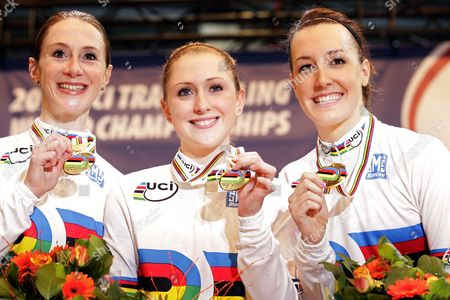 Team of Great Britain Riders Wendy Houvenaghel (l) Laura Trott (c) and Danielle King (r) Pose with Their Gold Medal After Winning the Team Pursuit at the Uci Track Cycling World Championships in Apeldoorn Netherlands 24 March 2011 Netherlands Apeldoorn