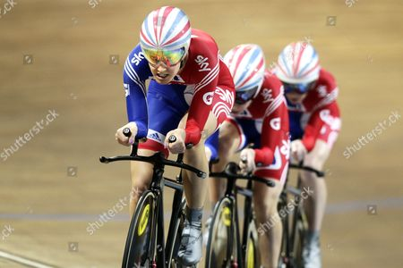 Team of Great Britain with Danielle King (l) Laura Trott (c) and Wendy Houvenaghel (r) in Action During the Team Pursuit at the Uci Track Cycling World Championships in Apeldoorn Netherlands 24 March 2011 Netherlands Apeldoorn