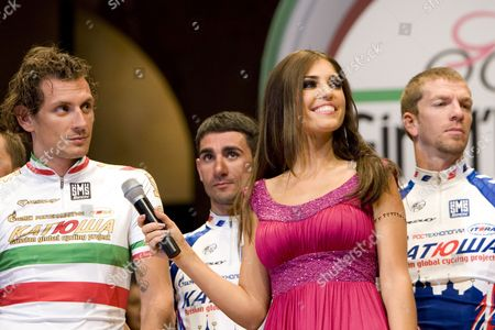 Cyclist Filippo Pozzato (ita) Talks to Yolanthe Cabau Van Kasbergen During the Grand Team Presentation of the 2010 Giro in the Beurs Van Berlage in Amsterdam the Netherlands on 07 May 2010 This Year's Giro D'italia is Set to Begin on May 8th in Amsterdam Netherlands Amsterdam