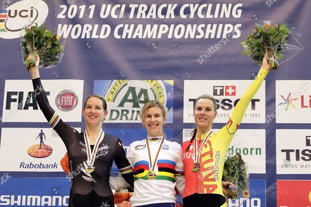 Sarah Hammer (usa) (c) and Vilija Sereikaite (ltu) (r) and Left Alison Shanks (nzl) During the Medal Ceremony at the Uci Track Cycling World Championships in Apeldoorn Netherlands 25 March 2011 Netherlands Apeldoorn