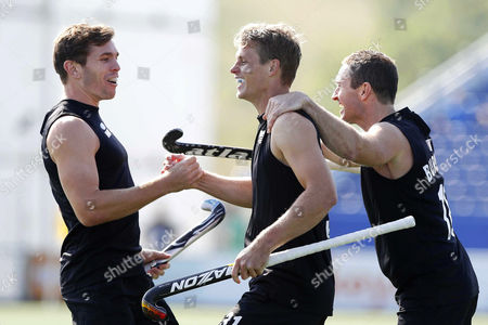 Steve Edwards (c) of New Zealand Celebrates with His Teammates After Scoring the 1-0 Lead Against South Korea During a Group Stage Match in the Men's Tournament of the Field Hockey World Cup in the Hague Netherlands 01 June 2014 Netherlands the Hague