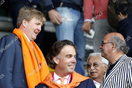 (l-r) Dutch King Willem-alexander Retired Politician Dutch Politician of the Christian Democratic Appeal (cda) Party Camiel Eurlings (c) and Director Johan Wakkie of the Dutch Hockey Federation Koninklijke Nederlandse Hockeybond (knhb) Prior to the Final of the Men's Tournament Between Australia and the Netherlands of the Field Hockey World Cup in the Hague the Netherlands 15 June 2014 Netherlands the Hague