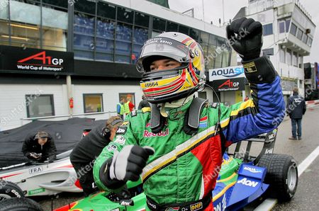 Stock Picture of Adrian Zaugg of Team South Africa Raises His Fist After He Acquired Pole Positions in Both the Sprint-race and the Feature-race During the Qualification in Four Segments For the A1 Gp of Nations in Zandvoort Netherlands 29 September 2007 Netherlands Zandvoort