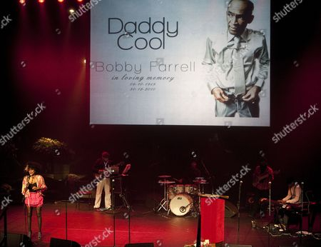 Stock Photo of Musicians and Singers Perform During a Funeral Service For Late Singer of Disco Band Boney M Bobby Farrell at the Stadsschouwburg Theatre in Amsterdam the Netherlands 08 January 2011 Farrell Died of Heart Attack at the Age of 61 in a Hotel Room in St Petersburg on 30 December 2010 Netherlands Amsterdam