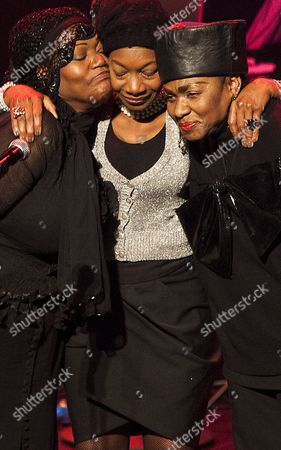 Members of Disco Band Boney M Liz Mitchell Maizie Williams and Marcia Barrett Attend the Funeral Service of Lead Singer of Boney M Bobby Farrell at the Stadsschouwburg Theatre in Amsterdam the Netherlands 08 January 2011 Farrell Died of Heart Attack at the Age of 61 in a Hotel Room in St Petersburg on 30 December 2010 Netherlands Amsterdam