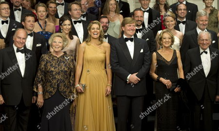 Front Row L-r: Aga Kahn Queen Beatrix of the Netherlands Princess Maxima of the Netherlands Dutch Crown Prince Willem Alexander and the Parents of Maxima Maria and Jorge Zorreguieta Pose For a Family Picture at the Concertgebouw in Amsterdam Netherlands 27 May 2011 Princess Maxima of the Netherlands Received on 27 May a Concert by the Royal Concertgebouw Orchestra in Amsterdam As a Gift For Her 40th Birthday Netherlands Amsterdam