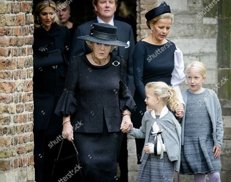 (l-r) Dutch Princess Beatrix Princess Mabel Countess Zaria and Countess Luana Arrive at the Old Church in Delft the Netherlands For the Memorial of Prince Friso 02 November 2013 in the Background Are Queen Maxima (l) and King Willem-alexander Prince Friso the Younger Brother of King Willem-alexander Suffered Severe Brain Damage in February 2012 After the Skiing Accident in the Austrian Ski Resort of Lech He Died Aged 44 on 12 August 2013 Netherlands Delft