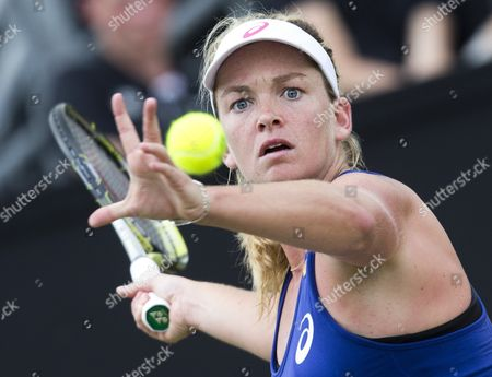 Us Coco Vandeweghe Returns the Ball During the Final of the Topshelf Open Tennis Tournament in Rosmalen the Netherlands on Saturday 21 June 2014 Vandeweghe Defeated Chinese Jie Zheng in 2 Sets 6-2 6-4 Netherlands Rosmalen