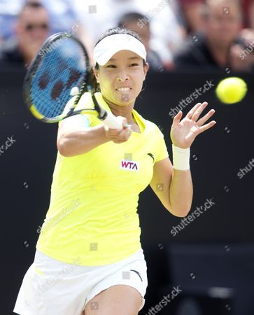 Chinese Jie Zheng Returns the Ball to Us Coco Vandeweghe During the Final of the Topshelf Open Tennis Tournament in Rosmalen the Netherlands on Saturday 21 June 2014 Vandeweghe Defeated Zheng in 2 Sets 6-2 6-4 Netherlands Rosmalen