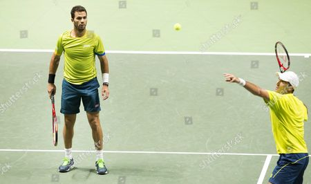 Dutch Jean-julien Rojer Robin Haase (l) with His Doubles Partner Romanian Horia Tecau (r) Against Dutch Robin Haase and German Andre Begemann During the Semi Final Match of the Abn Amro Tennis Tournament in Rotterdam the Netherlands 14 February 2015 Netherlands Rotterdam
