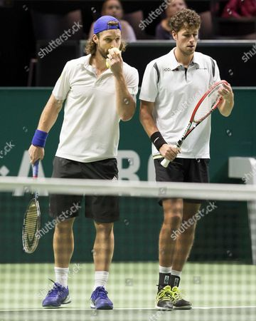 Dutch Robin Haase (r) with His Doubles Partner German Andre Begemann (l) Against the Dutch Jean-julien Rojer and Romanian Horia Tecau During the Semi Final Match of the Abn Amro Tennis Tournament in Rotterdam the Netherlands 14 February 2015 Netherlands Rotterdam