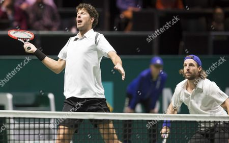 Dutch Robin Haase (l) with His Doubles Partner German Andre Begemann (r) Against the Dutch Jean-julien Rojer and Romanian Horia Tecau During the Semi Final Match of the Abn Amro Tennis Tournament in Rotterdam the Netherlands 14 February 2015 Netherlands Rotterdam