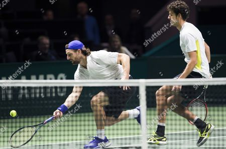 Dutch Robin Haase (r) with His Doubles Partner German Andre Begemann (l) Against the Spaniards Marcel Granollers and Marc Lopez During the Quarter Final Match of the Abn Amro Tennis Tournament in Rotterdam Netherlands 13 February 2015 Netherlands Rotterdam