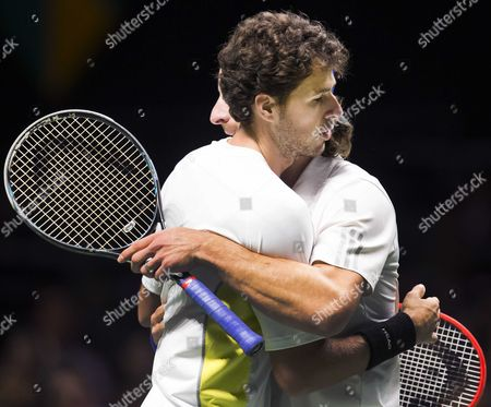Dutch Robin Haase (l) Wins with His Doubles Partner German Andre Begemann (r) Against the Spaniards Marcel Granollers and Marc Lopez During the Quarter Final Match of the Abn Amro Tennis Tournament in Rotterdam Netherlands 13 February 2015 Netherlands Rotterdam