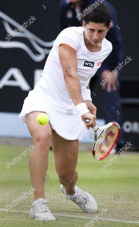 Spanish Tennis Player Carla Suarez Navarro Returns to Jie Zheng From China During Their First Round Match of the Topshelf Open Tennis Tournament in Rosmalen the Netherlands 18 June 2014 Netherlands Rosmalen