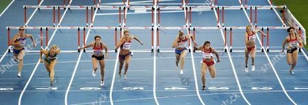 Turkish Athlete Nevin Yanit (3-r) on Her Way to Win the Gold Medal in the Women's 100 Metres Hurdles Final at the European Athletics Championships in Barcelona Northeastern Spain on 31 July 2010 Spain Barcelona