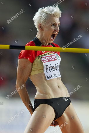 German Ariane Friedrich Reacts After a Jump During the Women's High Jump Final at the 2010 European Athletics Championships at the Olympic Stadium North-eastern Spain 01 August 2010 Spain Barcelona