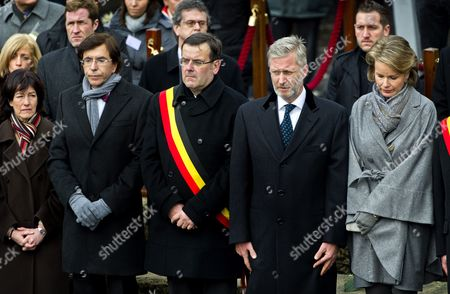 Belgian Prime Minister Elio Di Rupo (l) the Mayor of Liege Willy Demeyer (2-l) Prince Philippe of Belgium (2-r) and Princess Mathilde of Belgium (r) Attend the Ceremony to Commemorate the Victims of Nordine Amrani's Liege Attack in Liege 20 December 2011 on 13 December Nordine Amrani a 33-year-old Belgian of Moroccan Descent Went on Rampage in a Shooting and Grenades Attack on the Place Saint-lambert in Liege the Attack Immediately Killed Two Students Aged 17 and 15 As Well As a 17-month-old Toddler Amrani Then Shot Himself More Than 120 People Were Injured in the Rampage Some 30 People Remain Hospitalized According to Belga News Agency Belgium Liege