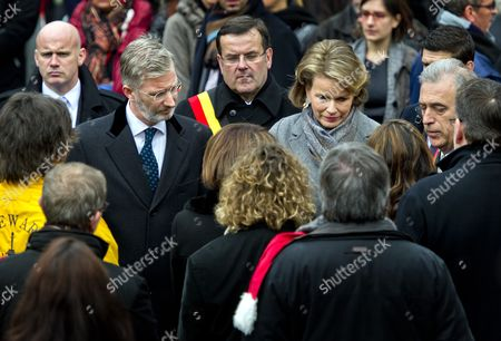 Crown Prince Philippe of Belgium (l) Princess Mathilde of Belgium (r) and the Mayor of Liege Willy Demeyer (c) Attend the Ceremony to Commemorate the Victims of Nordine Amrani's Liege Attack in Liege 20 December 2011 on 13 December Nordine Amrani a 33-year-old Belgian of Moroccan Descent Went on Rampage in a Shooting and Grenades Attack on the Place Saint-lambert in Liege the Attack Immediately Killed Two Students Aged 17 and 15 As Well As a 17-month-old Toddler Amrani Then Shot Himself More Than 120 People Were Injured in the Rampage Some 30 People Remain Hospitalized According to Belga News Agency Belgium Liege