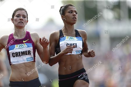 French Floria Guei (r) Wins the 400 Meters Next to German Esther Cremer at the Fkb Games in Hengelo the Netherlands 08 June 2014 Netherlands Hengelo