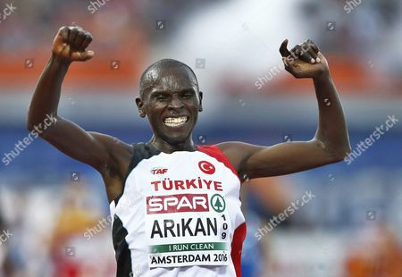 Polat Kemboi Arikan From Turkey Celebrates Winning the Men's 10000 M Race at the European Athletics Championships in the Olympic Stadium Amsterdam the Netherlands 08 July 2016 Netherlands Amsterdam