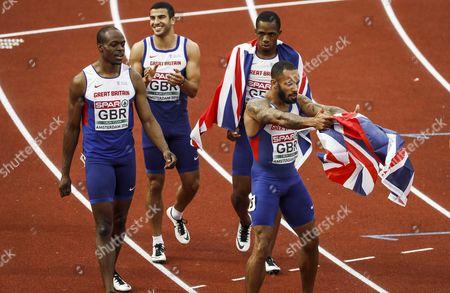 James Dasaolu James Ellington Adam Gemili and Chijindu Ujah After the 4 X100m Men Final of the European Athletics Championships at the Olympic Stadium in Amsterdam Netherlands 10 July 2016 Netherlands Amsterdam